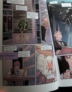 Comicseite zeigt eine große Bibliothek
