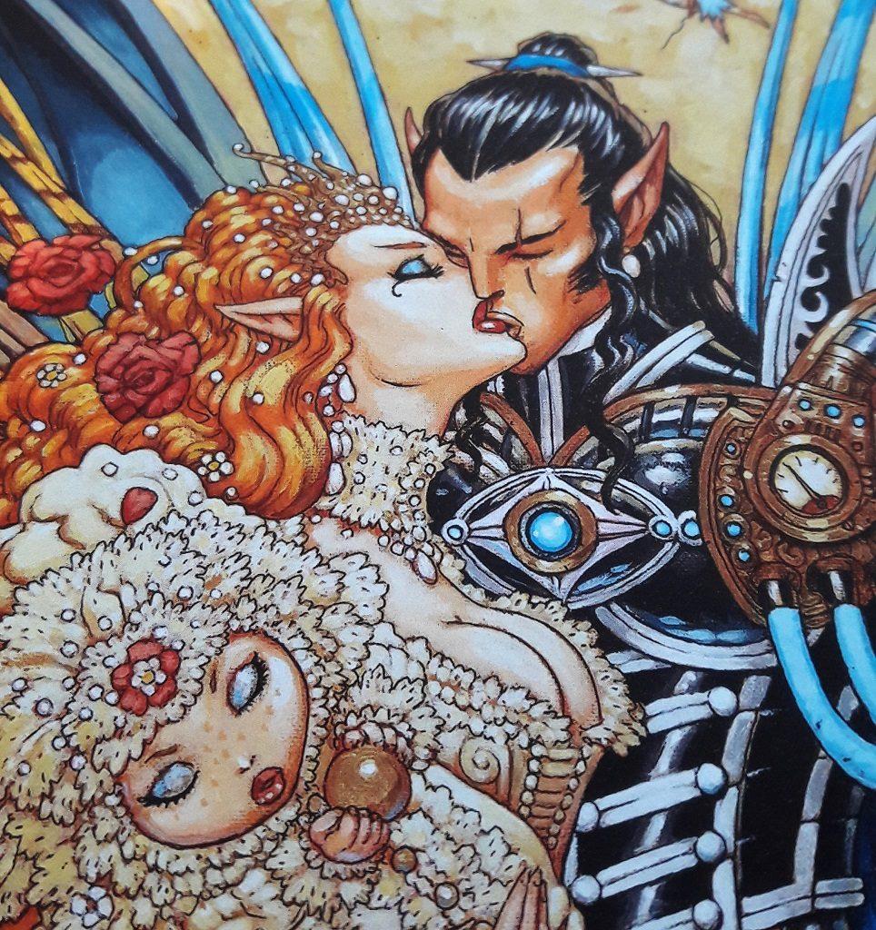 Das Feenpaar küsst sich, während Titania das Baby Wika am Arm hält