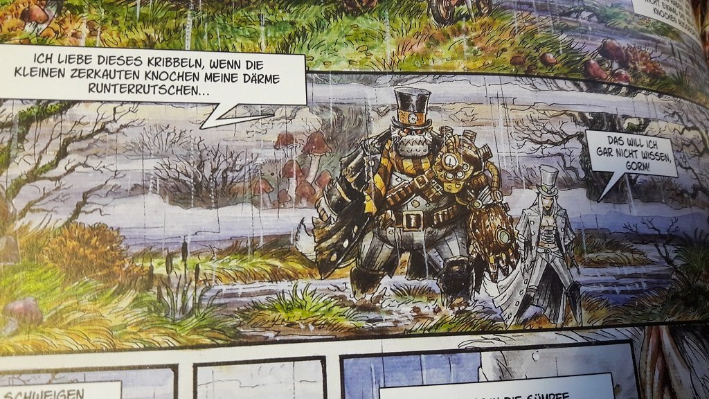 Ein Wesen mit Metallbeisserschnauze und ein wölfischer Elf gehen mit Bewaffnung durch den Regen.