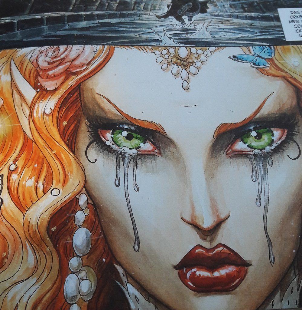 Großaufnahme der Zeichnung einer weinenden Elfin