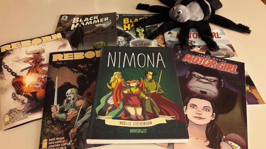 7 Comics, im Vordergrund Nimona von Splitter
