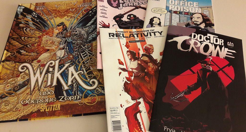 5 Comics: Elfenpaar mit großen Schmetterlingsflügeln und Baby im Arm, ein Mann mit Krähenmaske (Doctor Crowe) und andere