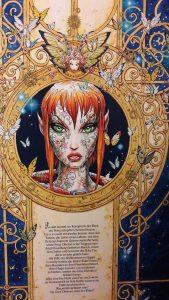 Rückseite des Comics, zeigt den Klappentext und ein Portrait der Fee Wika umrahmt von einem goldendenn Kranz aus Details