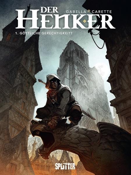 """Cover des Comics """"Der Henker"""" zeigt den Henker mit Kapuzenmantel auf einem Dachvorsprung sitzend"""