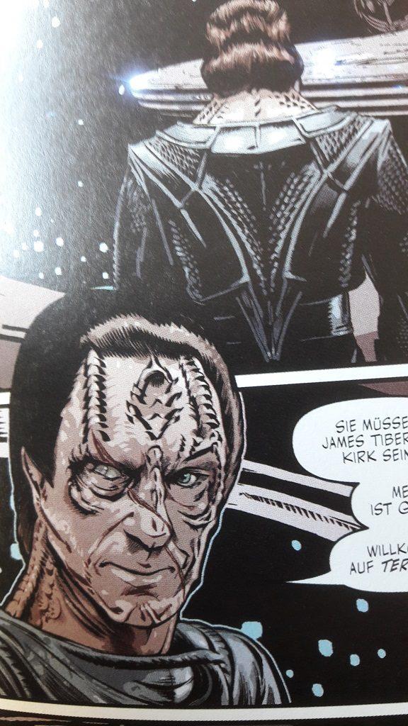 Ausschnitt einer Comicseite, die den Cardassianer Gul Dukat zeigt