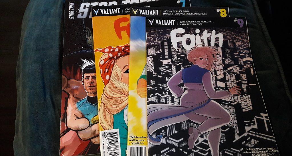 Vier Comics von links Star Trek, Faith 7, 8 und 9.