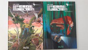 Cover der Bände 2 und 3 zeigen außerirdische Wesen und einen jungen Mann