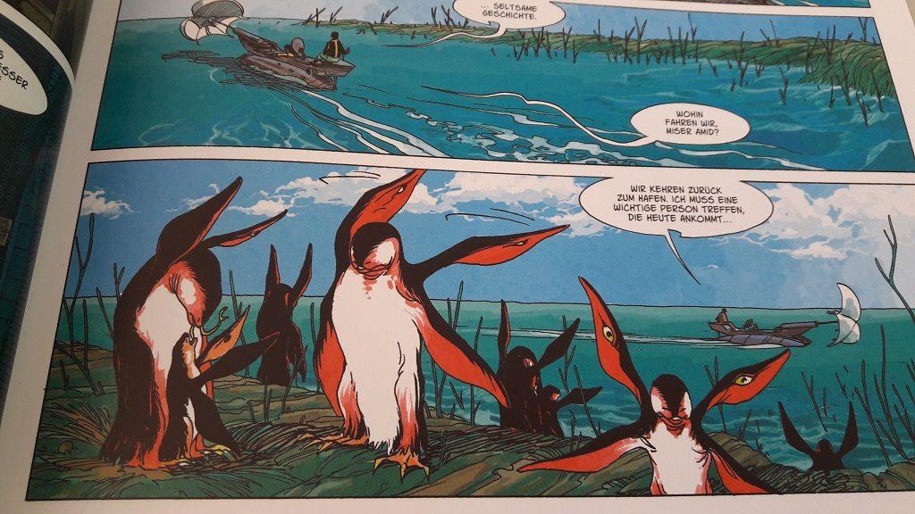 """Ausschnitt aus dem Comic zeigt pinguinähnliche Wesen, die vier """"Flügel"""" haben"""