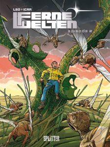 Cover des Comics- zeigt einen jungen Mann, der von außerirdischen fliegenden Wesen bedroht wird