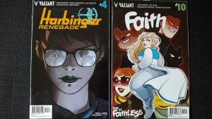 Comiccover zeigen das Portrait einer Frau mit Sonnenbrille und die Superheldin Faith