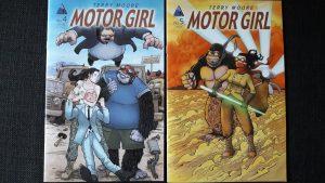 Zwei Motor Girl-Comics auf den Covern jeweils die Protagonistin und ihr Gorilla