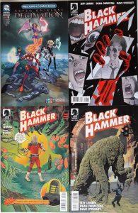 4 Comics im Quadrat angeordnet mit Robotern und Monstern