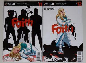 Zwei Comics nebeneinander, auf den Covern die Superheldin Faith und ihre Villains als Schatten