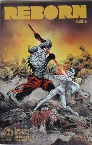Comiccover auf dem ein gehörnter Dämon auf einem Schlachtfeld gegen eine gepanzerte Frau kämpft