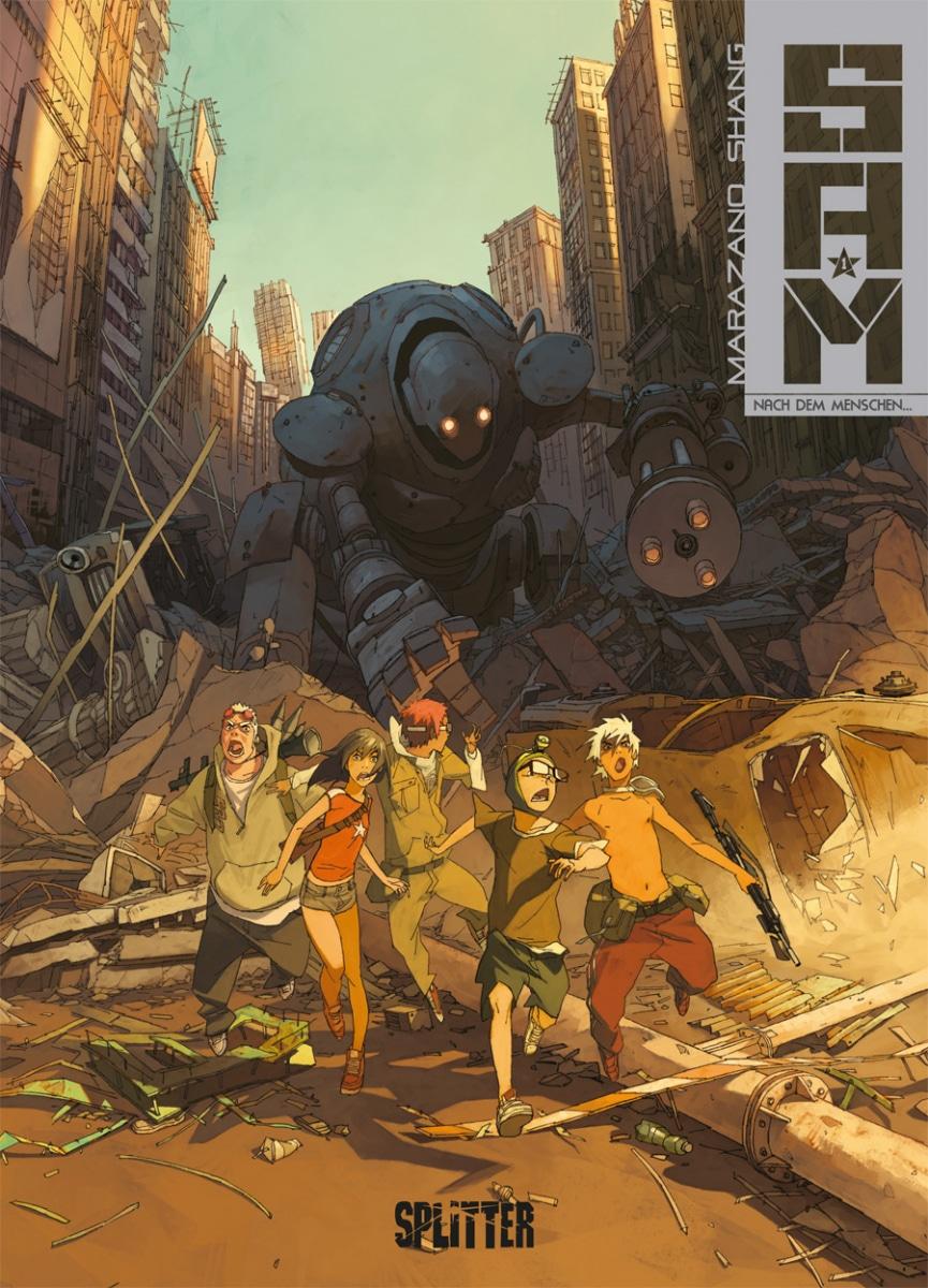 Comiccover, zeigt großen Roboter, der eine Gruppe Teenager in einer zerstörten Stadt verfolgt