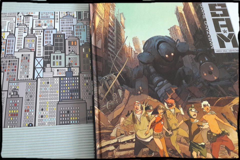 Comiccover S.A.M 1 neben einem Pixelartbild, dass Hochhäuser zeigt