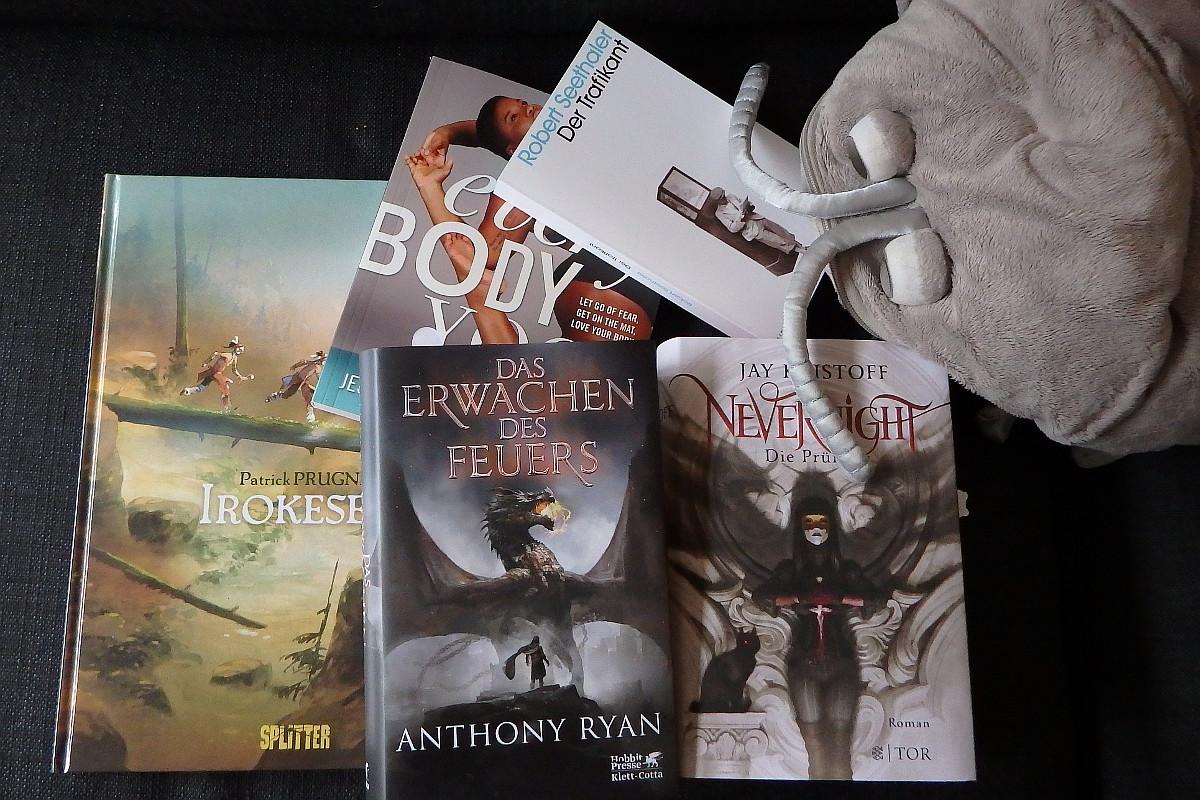 Mehrere Bücher und Comics und eine Plüschkellerassel