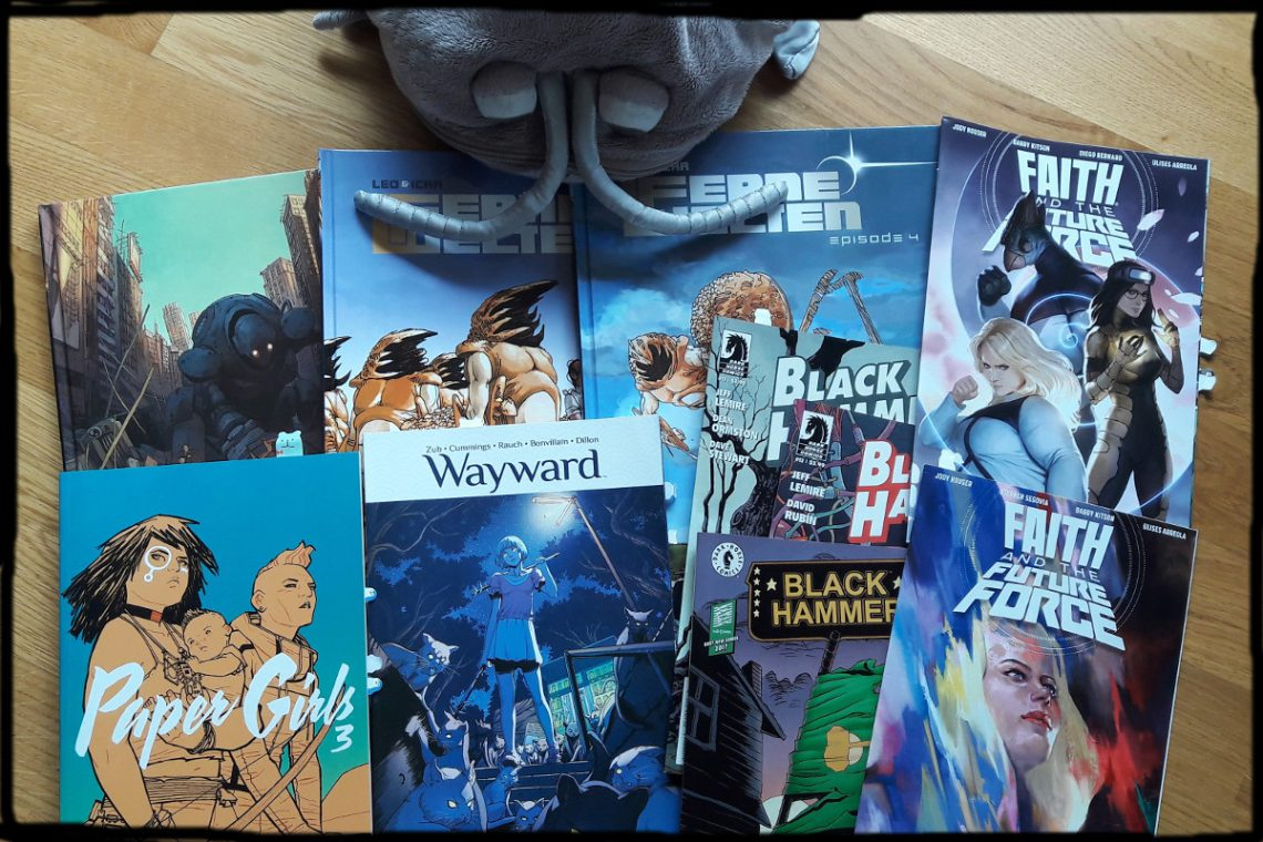 Verschiedene Comics nebeneinander oben eine Plüschkellerassel