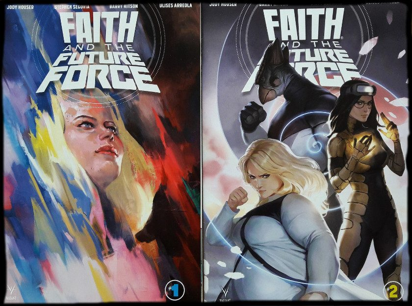 Zwei Comiccover, links Faith im Profil, rechts das Frauenteam Faith, Ank, Neela