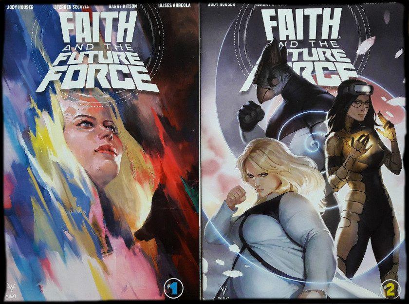 Zwei Comiccover, links Faith im Profil, rechts das Frauenteam Faith, Ank, Neela