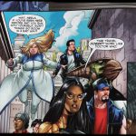 Ausschnitt aus dem Comic mit fliegender Faith