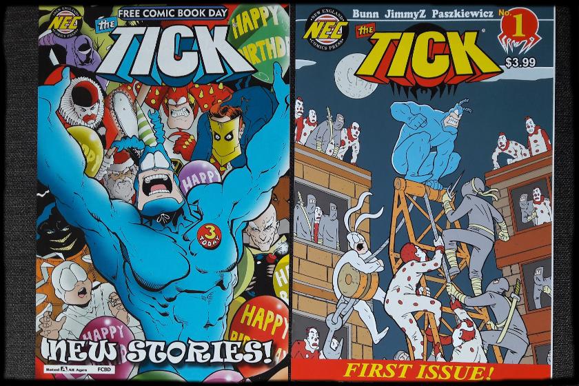 Zwei The Tick-Comics, links im Hintergrund Clowns, recht Clowns und NInjas