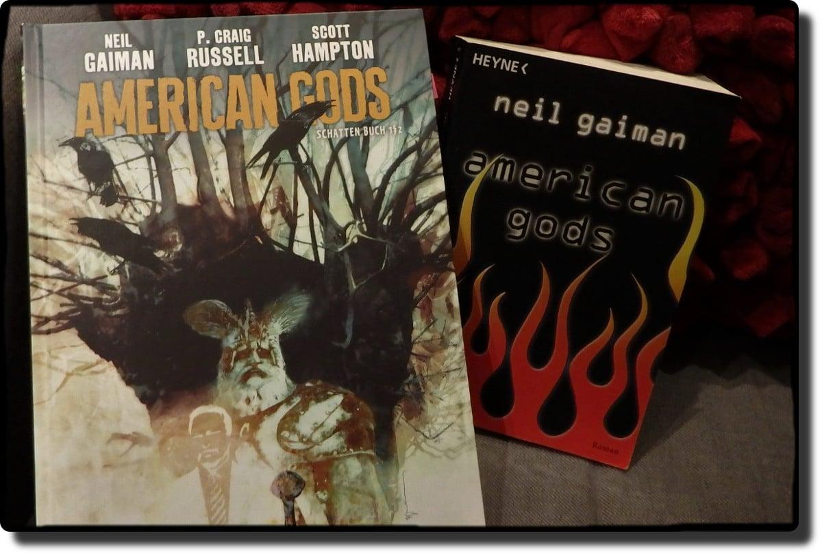 American Gods Comic neben Taschenbuchausgabe