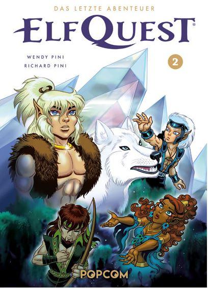 Comiccover. Schnitter (Elf mit Zopf und hellem Haar) im Vordergrund mit seinem Wolf