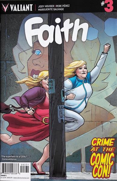 Cover zeigt eine Faith in normaler Kleidung, die durch eine Tür springt und sich in die Superheldin Faith verwandelt