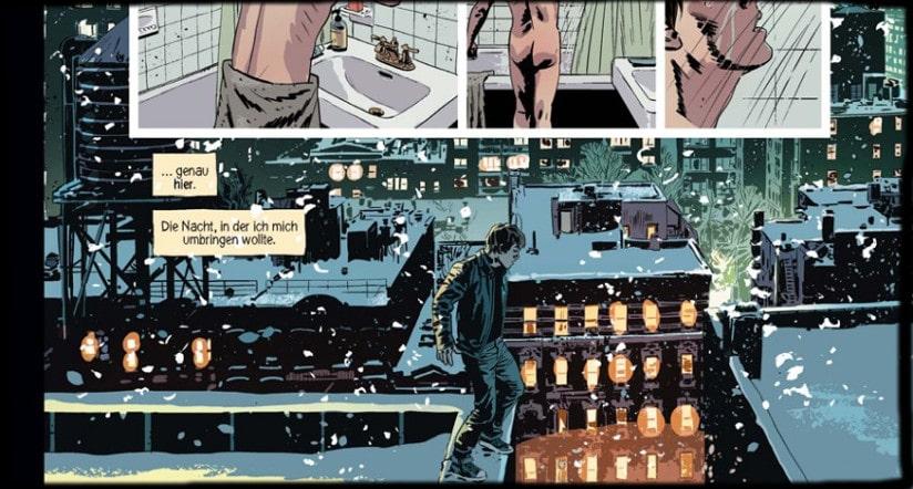 Ausschnitt von Seite 12, zeigt wie ein Mann auf einem Hochhaus steht - im Schnee