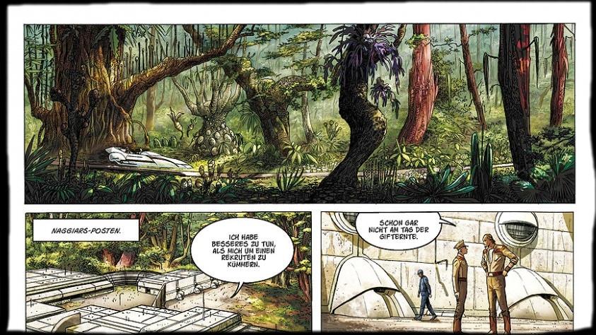 Ausschnitt von Seite 4, das erste Panel zeigt einen Dschungel