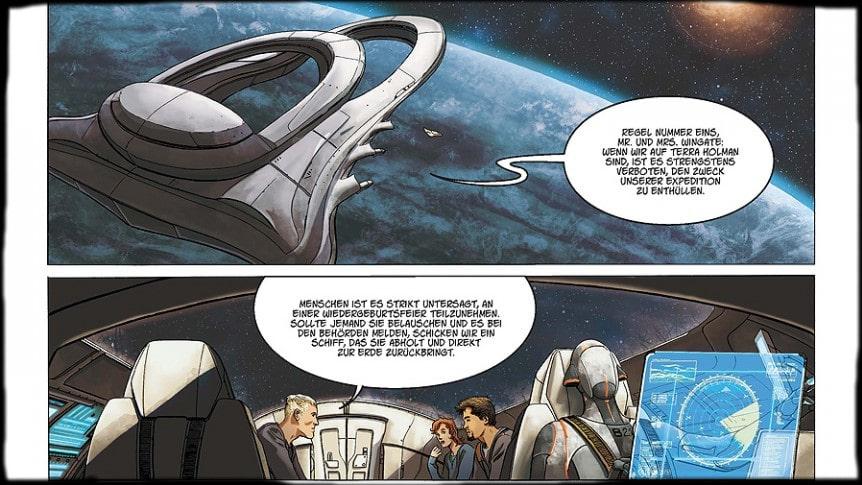 Ausschnitt der Seite 8 zeigt ein Raumschiff und einen Dialog