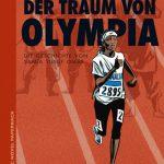 Junge Sportlerin läuft in Olympiadress vor einem roten Laufbahnhintergrund und im Schatten stehen bewaffnete Islamisten