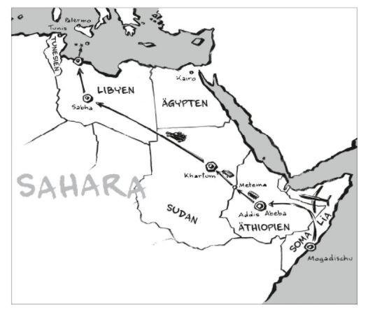 Karte Nordost-Afrikas, die die Reiseroute Samias zeigt