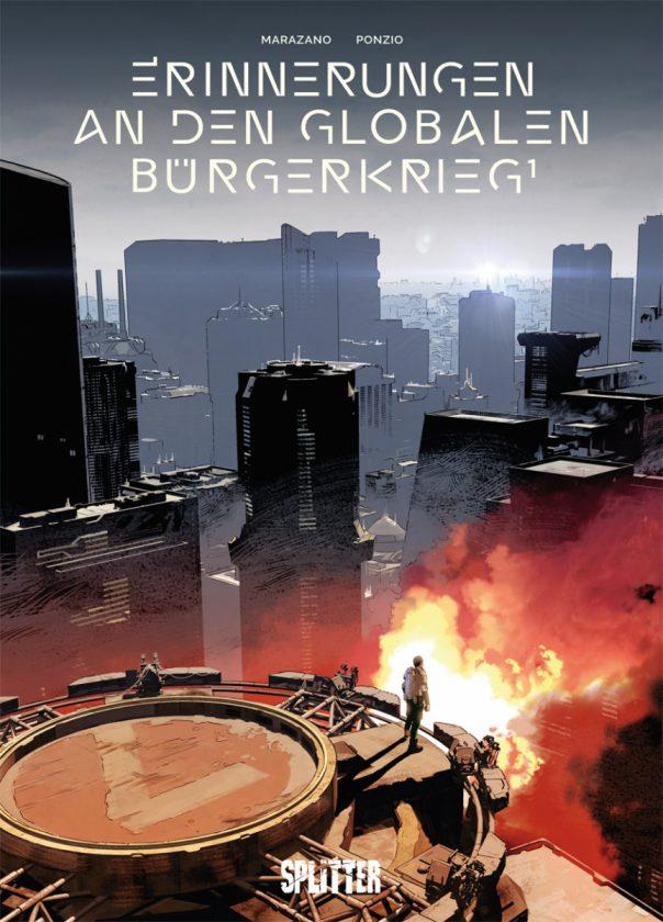 Comiccover zeigt eine Stadt in Flammen