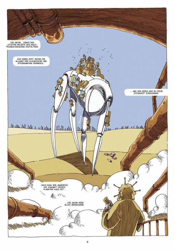 Seite 8 aus dem Comic Grün zeigt einen großen organisch wirkenden vierfüßigen Transportläufer auf dem einige Personen reisen