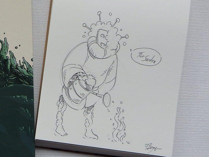 """Originalzeichnung von Frauke Berger. Hybride aus """"Grün"""" auf weißem Papier"""