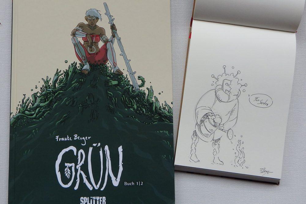 """Comic Grün 1 neben einer Originalzeichnung in schwarzem Fineliner einer Hybride aus """"Mensch"""" und Pflanze"""