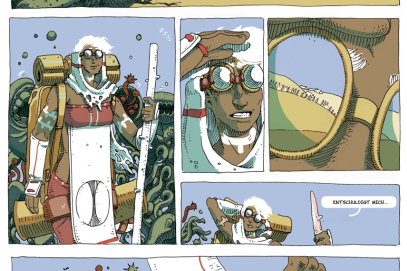 Grün Band 1 - Ausschnitt aus Seite 13 zeigt mehrere Panels mit der Protagonistin Lis, die sich durch die Wüste kämpft, verfolgt vom Grün