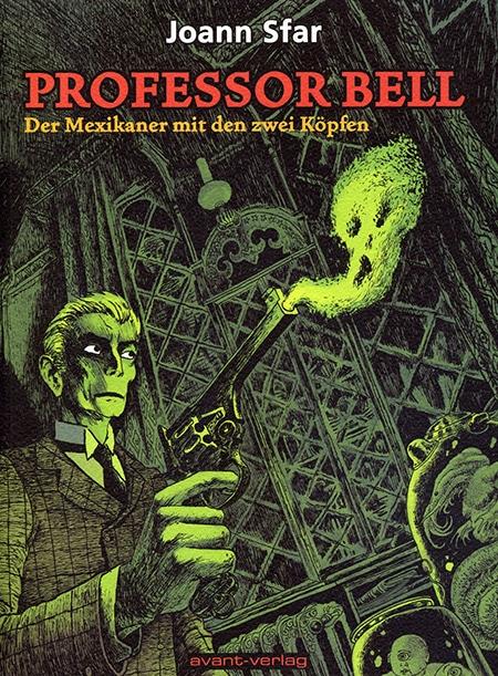Grünes Cover mit einem Mann, der einen rauchenden Revolver in der Hand hält