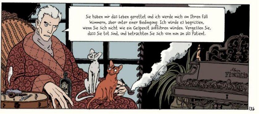Professor Bell sitzt mit seinen zwei Katzen und seiner Pfeife auf einem Ohrensessel