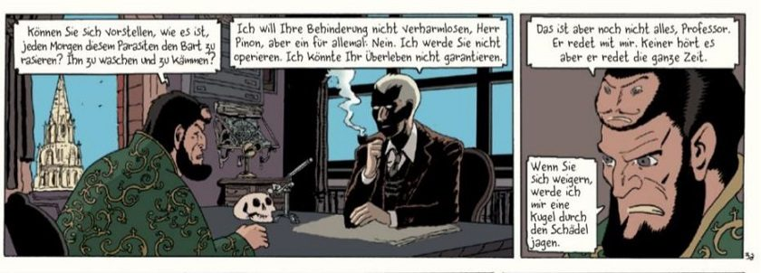 Ein Comicpanel zeigt einen rauchenden Professor Bell im Gespräch mit dem Mexikaner an einem Tisch