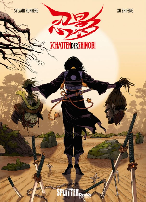 Comiccover zeigt eine Kriegerin von hinten, die auf Zehenspitzen steht und in jeder Hand einen Kopf hält