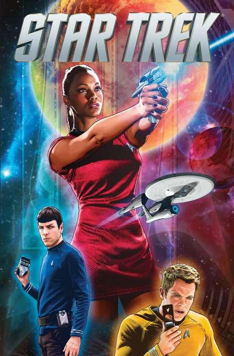 Comiccover mit Uhura im Vordergrund