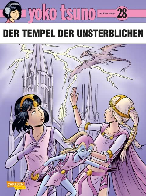 Comiccover in pink-lila mit Yoko Tsuno vorne und einem Drachen über einem Schloss