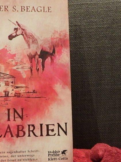 Buch vor einem grauen Textilhintergrund