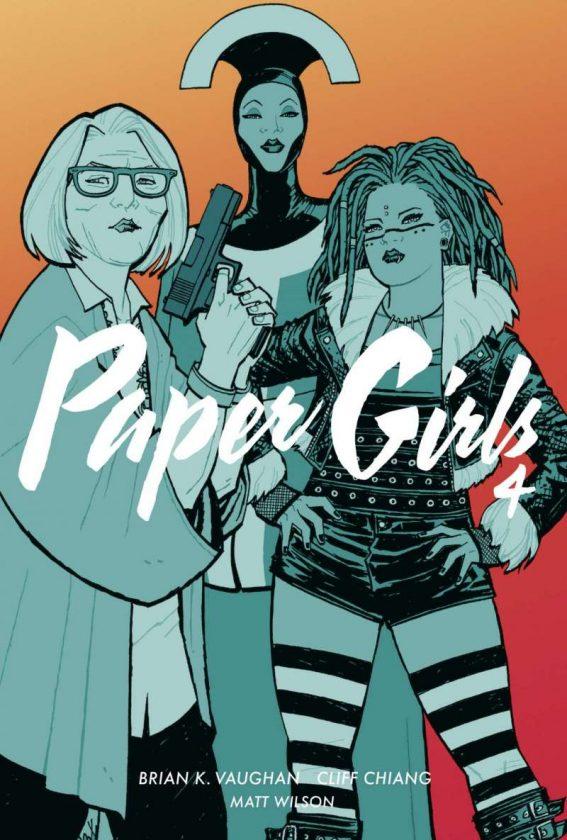 Paper Girls 4 Cover, darauf drei Frauen vor orangefarbenem Hintergrund