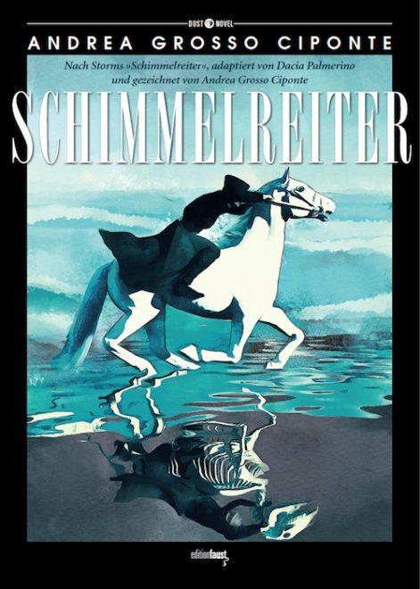 Cover in graublau zeigt den Schimmelreiter dessen Spiegelbild ein Skelett ist