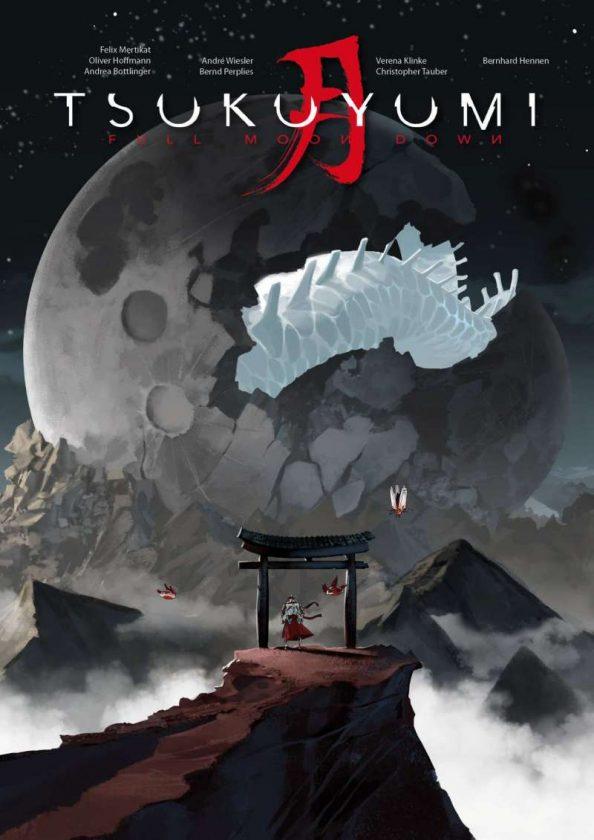 Tsukuyumi Full Moon Down Cover in dunklen Farben mit einem riesigen Mond im Hintergrund