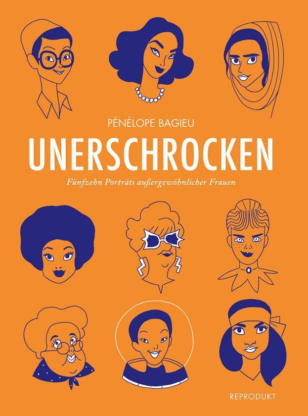 Orangefarbenes Cover und darauf ganz viele Köpfe von Frauen